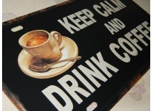 PLACA VINTAGE KEEP CALM AND DRINK