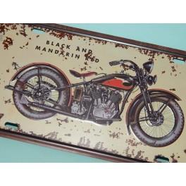 Cartel Chapa MATRICULA MOTO CUSTOM Placa de decoración Vintage para pared de habitación, salón, bar, garage