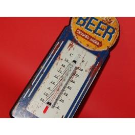 Cartel Chapa TERMOMETRO BEER Placa de decoración Vintage para pared de habitación, salón, bar, garage