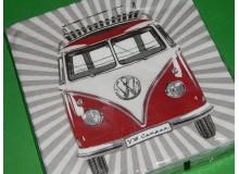 Pack de 20 servilletas vintage de papel con diseño de Volkswagen Camper