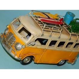 Coche Modelo FURGONETA VOLKSWAGEN CAMPER HIPPIE Vehiculo en miniatura de colección Vintage Automovil a escala