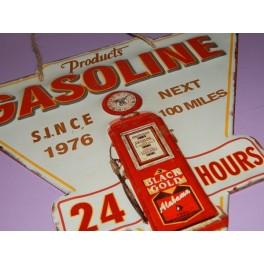 Cartel Chapa GASOLINE 24 HOURS Placa de decoración Vintage para pared de habitación, salón, bar, garage