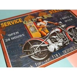 Cartel Chapa SERVICE STATION Placa de decoración Vintage para pared de habitación, salón, bar, garage