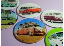 Juego de seis posavasos vintage con diseño de furgoneta campervan hippie
