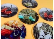 Seis posavasos retro de cristal de calidad con serigrafiado del Scooter Italiano