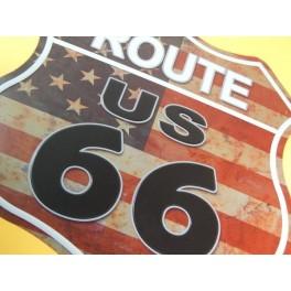 Cartel Chapa ESCUDO RUTA 66 Placa de decoración Vintage para pared de habitación, salón, bar, garage