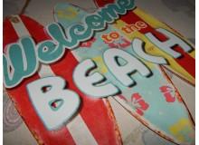 Cartel Chapa BEACH SURF Placa de decoración Vintage para pared de habitación, salón, bar, garage