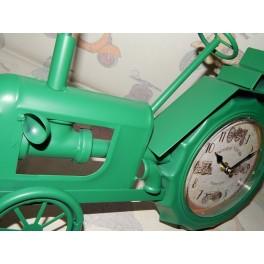 Reloj retro de pared con forma de tractor metálico de color verde estilo vintage