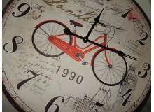 RELOJ DE MADERA VINTAGE DECORACION PARED BICICLETA LONDON