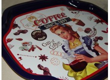 BANDEJA METAL VINTAGE DECORACION COCINA COFFEE