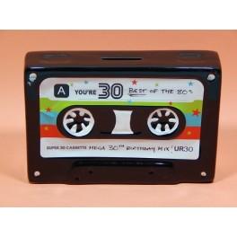 Hucha de cerámica retro en forma de cinta de casette serigrafiada blanco o negro