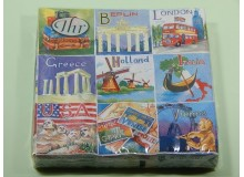 Pack de 20 servilletas de papel coloridas con diseño retro de around the world