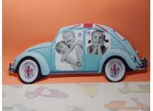 Portafotos vintage de cartón satinado con diseño de Volkswagen Beetle