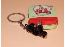 Llavero retro metálico con diseño de vespa con caja serigrafiada metálica
